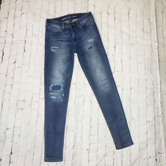 American Eagle Super Stretch Jeggings Skinny Jeans Distressed Mid Rise Ripped